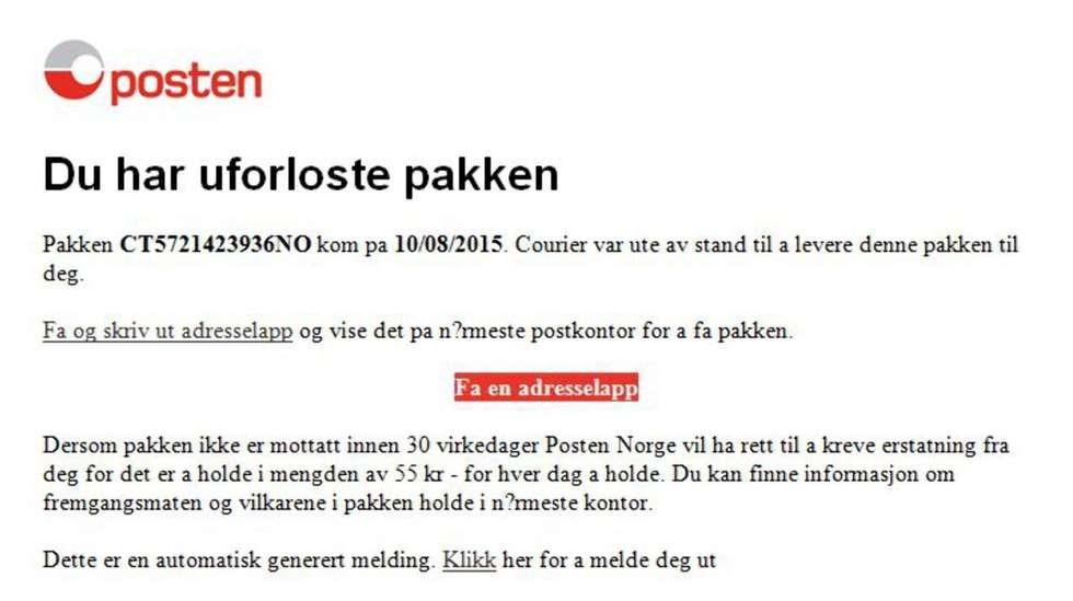 f19e6dbe Posten advarer mot svindel-epost med farlig innhold | ABC Nyheter