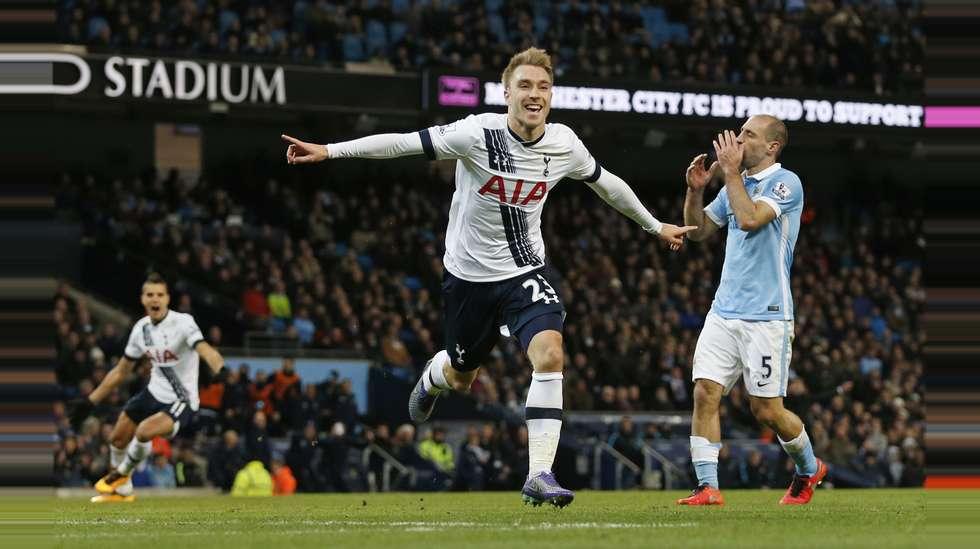 3d15765c Christian Eriksen jubler for sin scoring mot Manchester City.