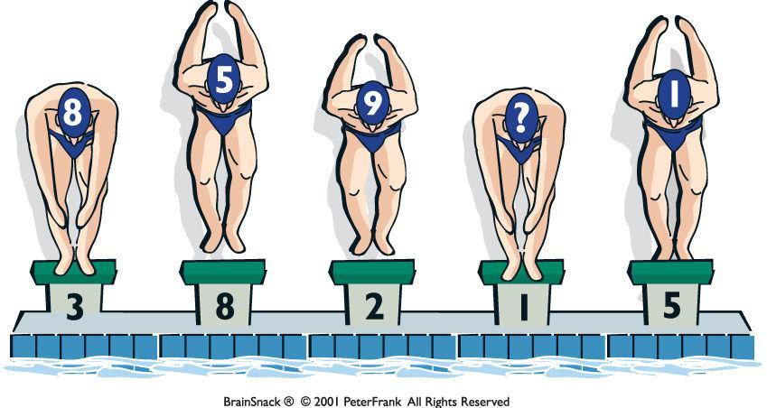 Hvilket tall mangler svømmeren?