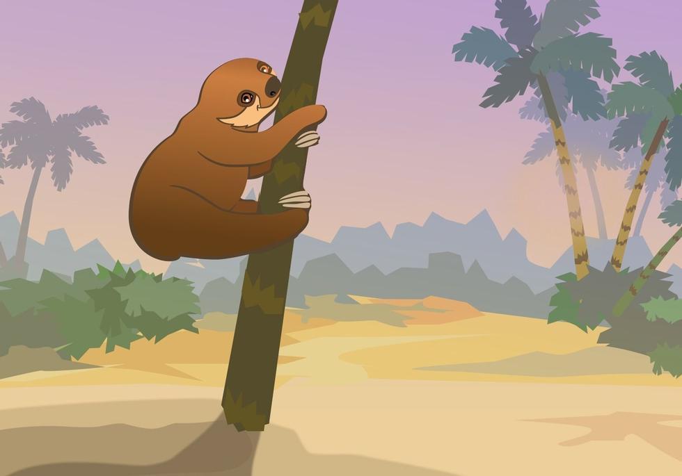 Hvor mange dager bruker dovendyret for å nå tretoppen?