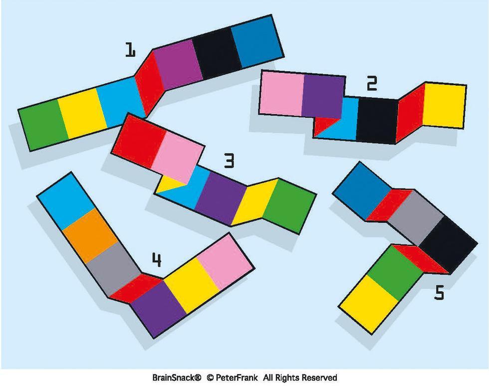 Hvilken papirstrimmel er ikke brettet riktig sammen?