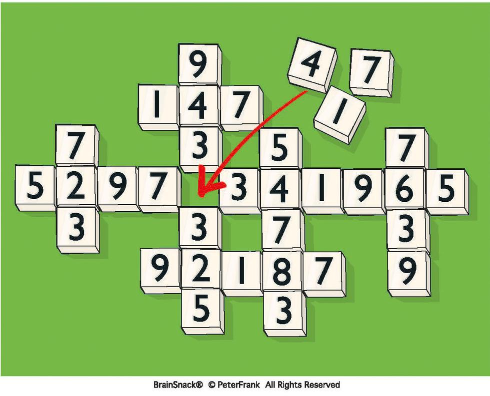 Hvilken kloss (1, 4 eller 7) hører hjemme på den tomme plassen?
