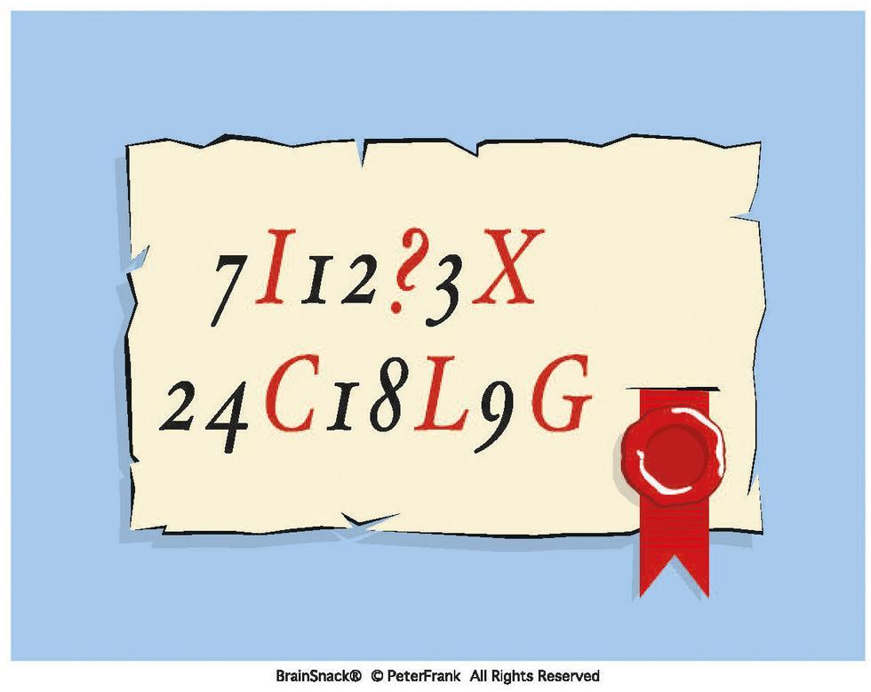 Hvilket tall eller bokstav er erstattet av et spørsmålstegn?