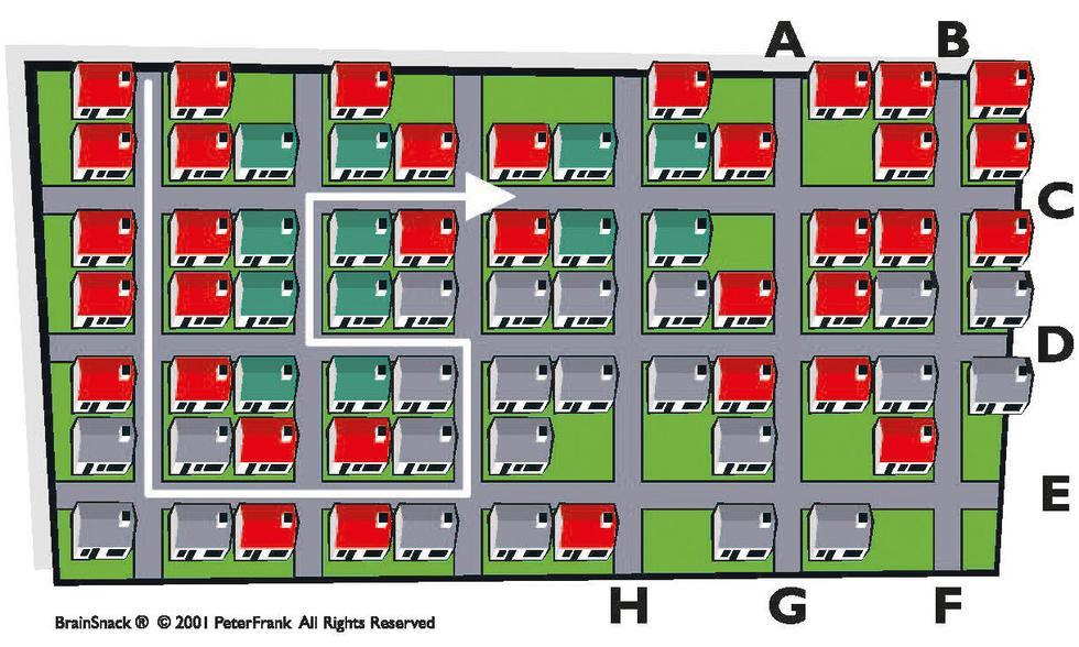 Hvor (A-H) vil bilen forlate byen?